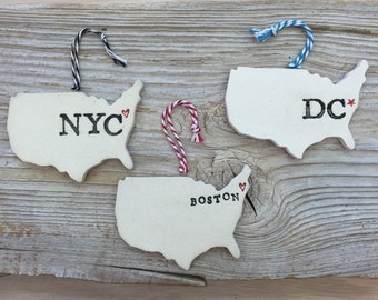 Your City Pottery Ornament - Custom Made