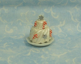 Dollhouse Miniature Christmas Two Layer Cake on Porcelain Plate