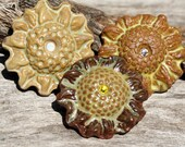 Set of Three Handmade Ceramic Flower Buttons