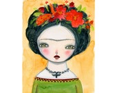 Frida and the black bird - Giclee Reproduction Of Original Watercolor Painting By Danita Art (Paper Prints and ACEO Wood Mounted)