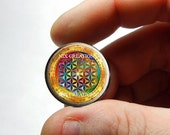 25mm 20mm 16mm 12mm 10mm or 8mm Glass Cabochon - Rainbow Flower of Life - for Jewelry and Pendant Making