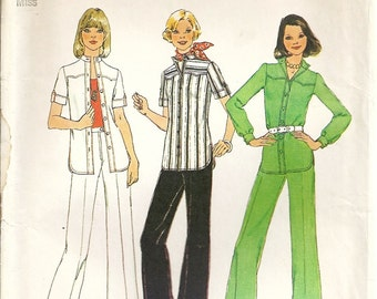 Simplicity 6875 Misses Retro Shirt - Jacket, Pants 70s Vintage Sewing Pattern Size 12 Bust 34 Uncut Shaped Yoke, Stand-Up Collar