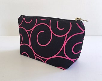 small makeup bag, pink and black, cosmetic bag, organizer pouch, girlfriend gift, gift for women, zipper bag, zipper pouch,