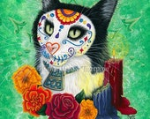 Day of the Dead Cat Art Cat Painting Candles Gothic Mexican Sugar Skull Cat Fantasy Cat Art Print 8x10 Cat Lovers Art