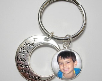 I Love You to the Moon and Back Key Chain with Custom Photo Charm