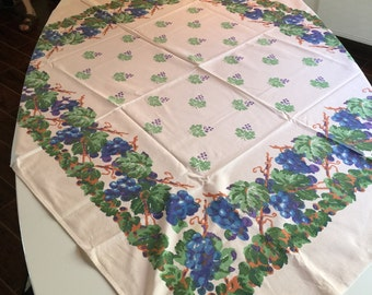 Vintage Tablecloth - Ivory Cotton Table Linen with Blue and Green Grape Vines and Grape Printed Center Picnic Cloth - Vivid Retro Colors