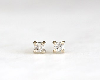 14k gold moissanite stud earrings, handmade, diamond studs