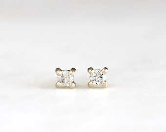 14k gold moissanite earrings, handmade, diamond earrings, studs