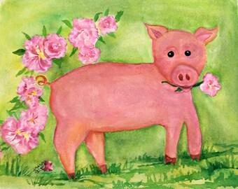 Pig watercolor painting, original Pig Art,  whimsical pig  painting artwork, watercolor original of piglet, nursery art, Happy Pig art