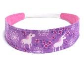 Headband Girls Child Children's  - Reversible Headband - Purple, Pink, Unicorns -  PURPLE UNICORNS & DANDELIONS