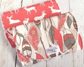 "Burp Cloths for Baby Girl  - Set of 2 - Super Absobent Triple Layer Chenille  - Coral Willow Feathers & Coral ""Oh Deer"""