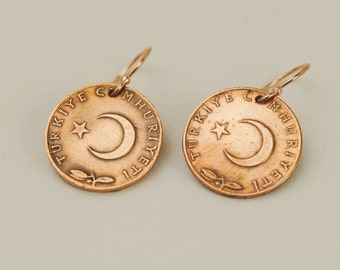 Turkey Coin Earrings 1970 and 1972