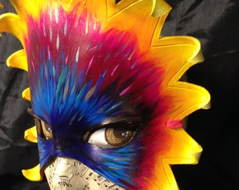 Star Burst, one of a kind  leather mask hand painted by Sherri Carroll of Lively Vortex