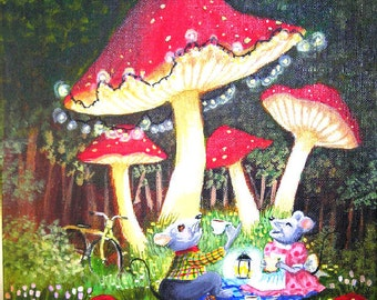Mouse Picnic. PRINT Big Red Mushrooms, Lights, Yellow Bike, Blanket, Woods, Trees - by Patricia Ann Rizzo