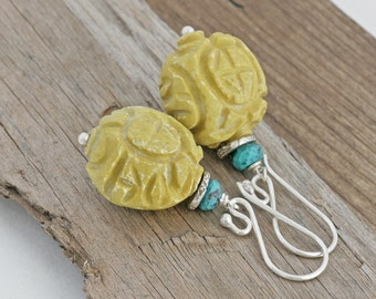 Carved Yellow Turquoise Hill Tribe Sterling Silver Large Dangle Earrings // luluglitterbug // handcrafted jewelry