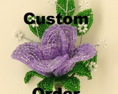 Custom Order for Pupkinny-Two French Beaded Morning Glory Trio Stems