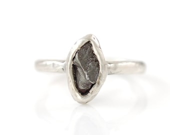 Single Meteorite Ring in Palladium Sterling Silver - Made to Order
