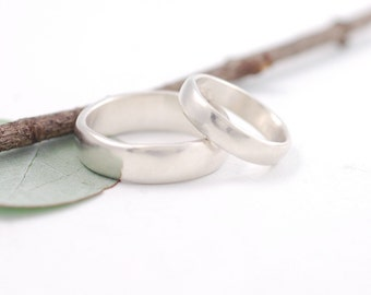 Simplicity Wedding Rings - Palladium Sterling Silver Wedding Band Set - 4mm and 6mm - made to order wedding rings in recycled metal