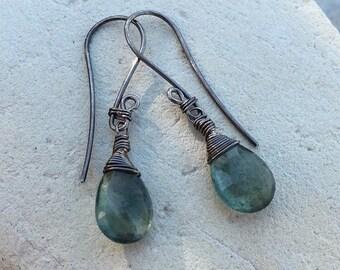 MOSS AQUAMARINE earrings, with sterling silver, Aquamarine briolette earrings