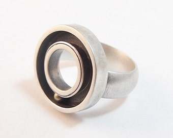 Statement Ring - Sterling Silver and Brass - Handmade in Seattle - Round and Round