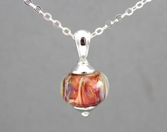 Lavender and Apricot Glass Necklace, Sterling Silver Necklace, Lampwork Bead Necklace, Pendant Necklace