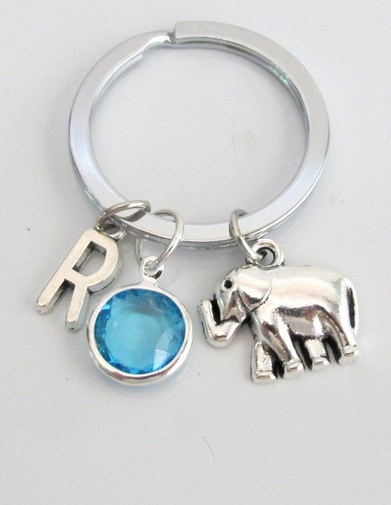 Elephants Keychain, animal keychain, personalized keychain, initial keychain, customized, monogram Free Shipping In USA