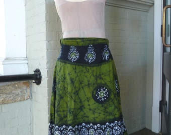 Vintage INDIAN COTTON Batik Resist Midi Wrap Skirt sz L / XL