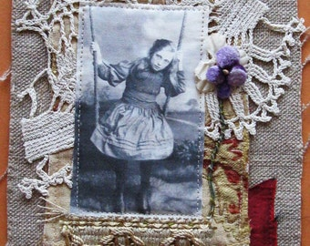 small art quilt, vintage photo, girl on a swing