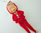 Poseable Girl Doll Pixie Elf Ornament - Vintage Collectible Christmas Decor