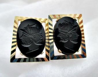 Double Faced Greek Roman Soldier Vintage Onyx Cuff Links Cufflinks - Vintage Men's Dude Jewelry Gift