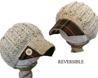 reversible newsboy hat with brown plaid fabric brim, wood corner buttons; reversible brim hat; fabric brim hat; up-cycled fabric