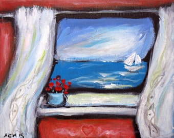 Vacation to the Sea Window Peaceful Greek Island original painting 10 x 8 by Angie