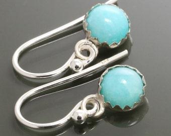 Amazonite Drop Earrings. Sterling Silver. Genuine Gemstone. Bezel Settings. 6mm Round. f15e008