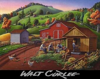 Fall Farm Scene, Farm Work, Folk Art, Family Farm, Amish Farmers Shucking Corn, Storing Corn Crib Farm Landscape, Giclee Canvas Print