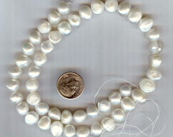 "Cultured White Freshwater Flat-sided Potato Pearls 8-10mm 16"" strand"