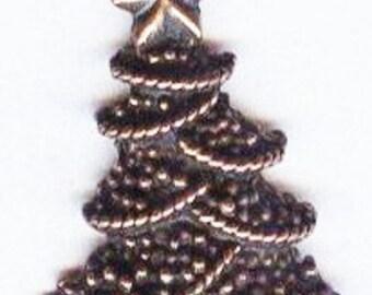 Christmas Tree Antique Copper Metal Charm Bead Pendant 22x14mm 1 piece