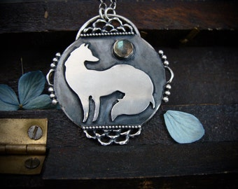 portrait of a fox ... sterling silver and labradorite pendant