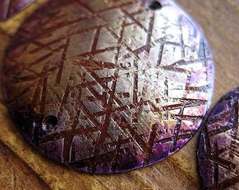 Hatched Brass Disc Set in Paprika Violet Opal Patina - 3 pieces