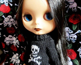 Blythe Sweater with White Glittery Skull