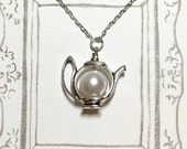 Pearl Teapot Necklace, Silver-plated Necklace, Pearl Necklace, Teapot Necklace, Bridesmaid Gift, Afternoon Tea Necklace, Girlfriend Gift