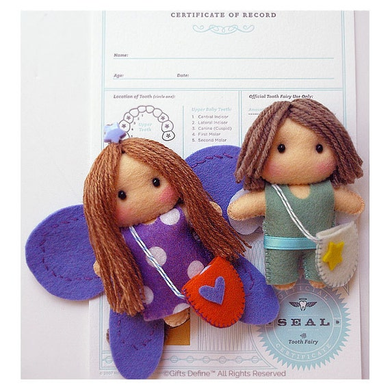 Tooth Guardian Angel Keepsake for Losing Tooth (Boy or Girl)  with one FREE Embossed Letterpress Tooth Fairy Certificate of Record