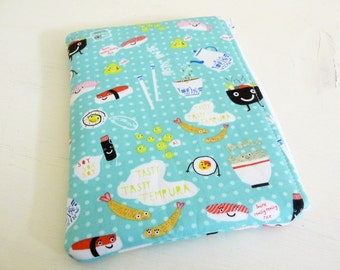 Aqua Sushi Kindle Paperwhite or Touch Sleeve, foam padded