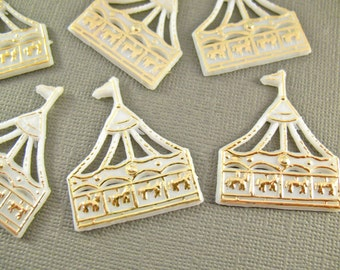 Vintage Plastic Carousels - Carnival Cupcake Toppers - Miniatures - 6 Pieces