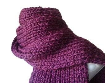 Knit Chunky Scarf Dark Purple Hand Knit Scarf Men Women Unisex CLARKE Ready to Ship - Fall, Winter Fashion