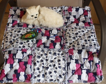 Cat Blanket, Cat Quilt, Colorado Catnip Bed, Cat Bed. Blue Cat Blanket, Cat Accessories, Luxury Cat Bed. Travel Cat Blanket, Cat Bed And Toy