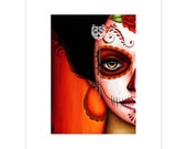 Red La Catrina Day of the Dead Half Painted Skull Face Inspired Art Print