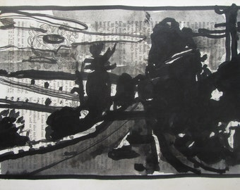 Original India Ink and Wash Landscape Drawing on Antique Book Paper, Stooshinoff