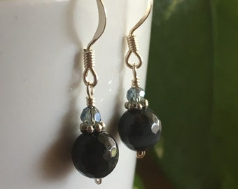 Blue Tigereye and Crystal Earrings