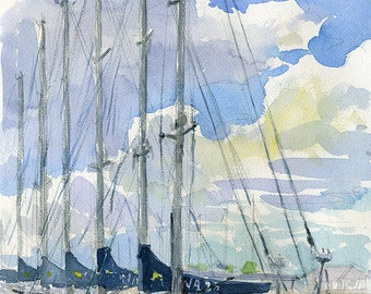 Annapolis Naval Academy sailboats, watercolor plein air painting, print in multiple sizes