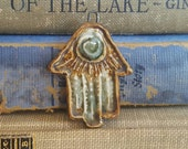Ceramic Hamsa Hand Pendant Brown and Green Spiral